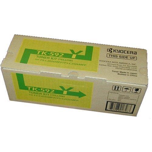 Kyocera 1T02KVAUS0 Model TK-592Y Yellow Toner Kit for C5250DN/C2026MFP/C2126MFP/C2526MFP/C2626MFP/M6026CIDN/M6526CDN/ M6526CIDN, Genuine Kyocera, Up To 5000 Pages