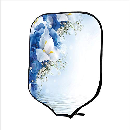 Dreamy Hydrangea (iPrint Neoprene Pickleball Paddle Racket Cover Case,Light Blue,Blue Hydrangeas and White Irises Over The Sea Romantic Bouquet Dreamy,Blue Light Blue White,Fit for Most Rackets - Protect Your Paddle)