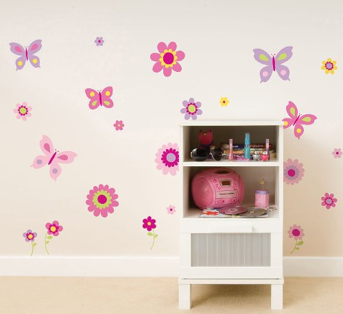 Fun4Walls SA30149 Flowers and Butterflies Wall Stickers by Fun4Walls (Image #1)