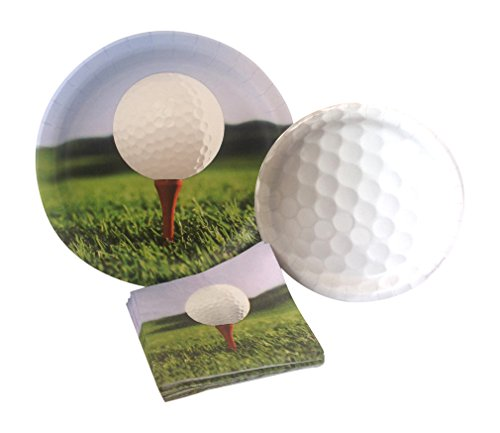 Golf Party Supply Pack! Bundle Includes Paper Plates & Napkins for 8 Guests ()