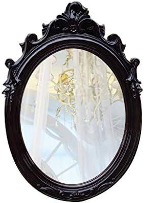 樹脂フレームバスルームミラー、ヨーロッパオーバル美容化粧ドレッシングテーブル JZ02/22 (Color : Black)