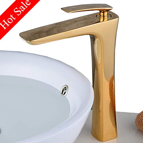 Beelee Bathroom Vessel Sink Mixer Faucet 11inch Single Handle One Hole Gold