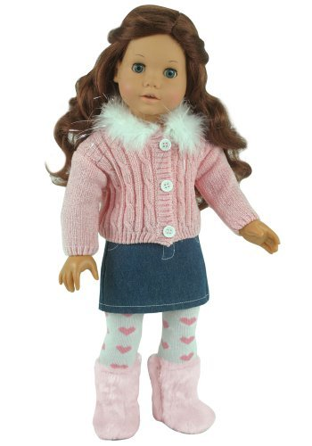 g/Clothes 3 Pc. Set by Sophia's Fits American Girl Dolls and More! Chenille Doll Sweater, Denim Skirt & Heart Doll Tights Outfit (Winter Chenille)