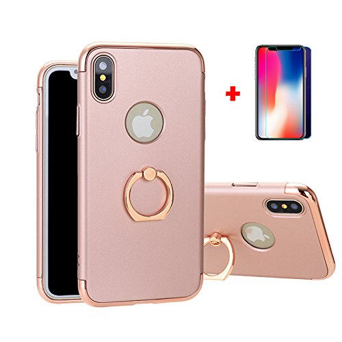 iPhone X case, HD Screen Protector Tempered Glass Film Kit, Hard PC Back Cover with Ring Holder for Apple iPhone 10, Shock-Absorption and Anti-Scratch(pink iphone X)