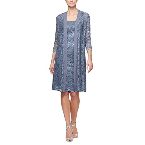 Alex Evenings Women's Plus-Size Midi Scoop Neck Shift Dress with Chiffon Jacket, Slate, 16W
