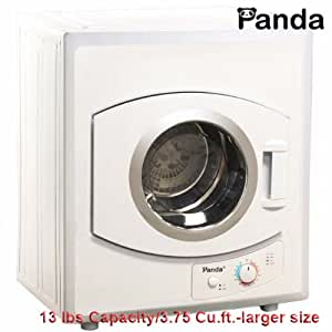 Panda Portable Dryer 3.75 cu.ft/13 lbs 110v Compact Apartment Size Stainless Steel Drum See Through Window-Larger Size