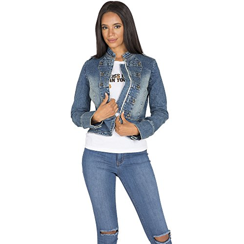 Sweet Vibes Womens Stretch Denim Double Breasted Jacket Premium Vintage Wash Size ()