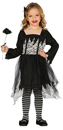Girls Gothic Doll Dead Bride Witch Black Widow Halloween Fancy Dress Costume Outfit 3-9 (7-9 Years) ()