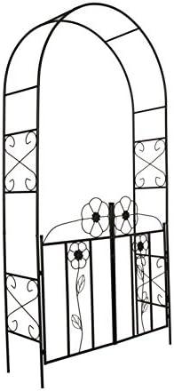 "Better Garden Steel Garden Arch with Gate, 7'7"" High x 3'9"" Wide, Garden Arbor for Various Climbing Plant, Outdoor Garden Lawn Backyard"