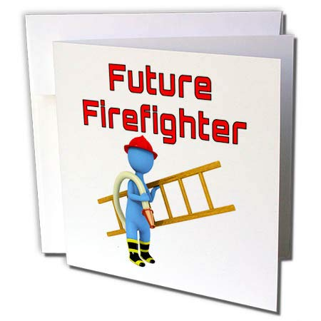 (3dRose Macdonald Creative Studios – Firefighter - A Little Future Firefighter for Any Kid who Dreams of Being a Fireman. - 6 Greeting Cards with envelopes (gc_299206_1))
