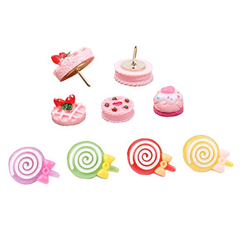 Shinywear Pink Decorative Pushpins Pictures Corkboard Wall Holders Thumbtacks Strawberry Cakes and Lollipop Design 9 Pieces Set by Shinywear