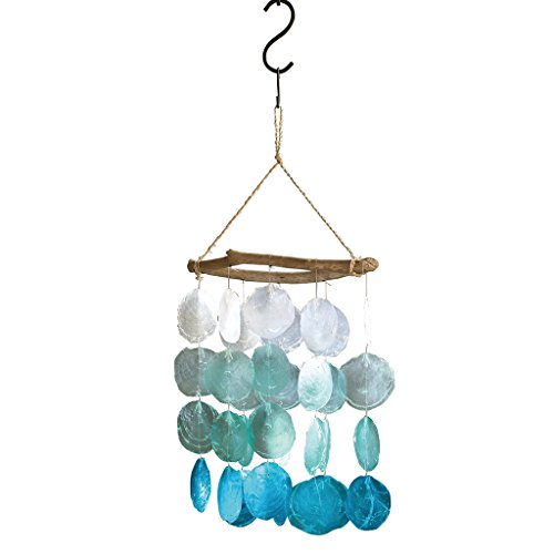 Time Concept Ocean Deco Capiz Wind Chimes – Blue Gradation – Hanging Shells, Indoor/Outdoor Home Décor