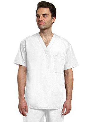 Adar Universal Mens V Neck Tunic Top 1 Pocket - 6011 - White - 3X (Scrub Top Flexibles V-neck Tunic)