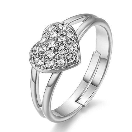 Psrings Silvery Romantic Heart Adjustable Ring Platinum Plated Made With Genuine Austrian Crystals 9 0