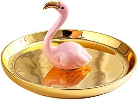 P Prettyia アクセサリースタンド ピンク フラミンゴ ジュエリースタンド ネックレス リング置き トレイ ゴールド