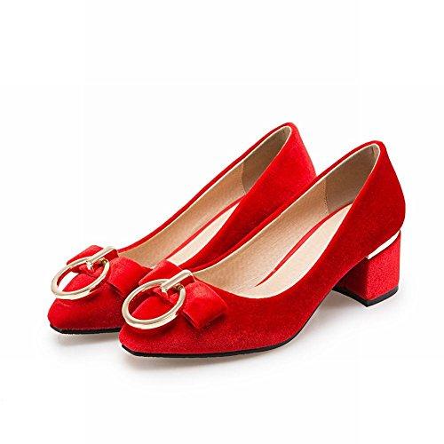 Mee Shoes Damen chunky heels Suede ohne Verschluss Pumps Rot