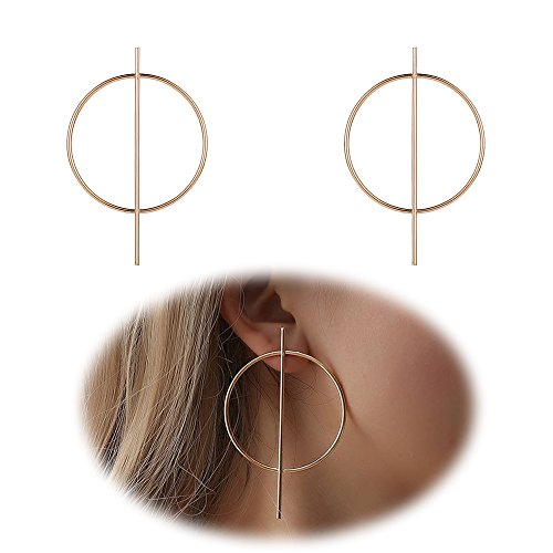 Simple Large Hoop Earrings Women Big Bar Dangle Earring Girls Endless Hoop Earrings Pierced Charms Jewelry Golden