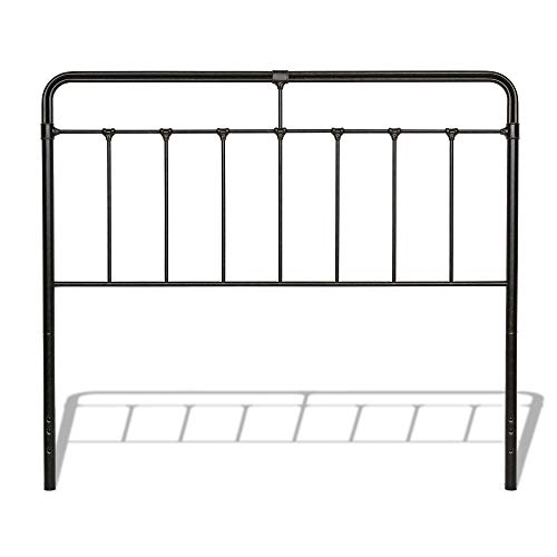 (Leggett & Platt Fairfield Metal Headboard Panel with Spindles and Intricate Castings, Dark Roast Finish, Queen)