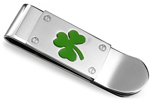 Good Luck Clover Kelly Green Shamrock Money Clip For Men Graduation Credit Card Holder Silver Tone Stainless Steel