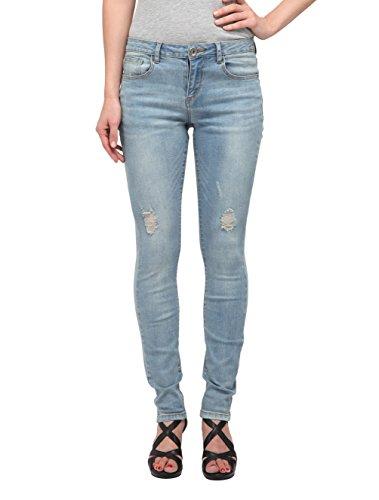 Allée Jeans, Women's Distressed Light Blue Skinny Jeans Mid-rise waist (Zinnia) (27) (Light Skinny Jeans Wash Women For)