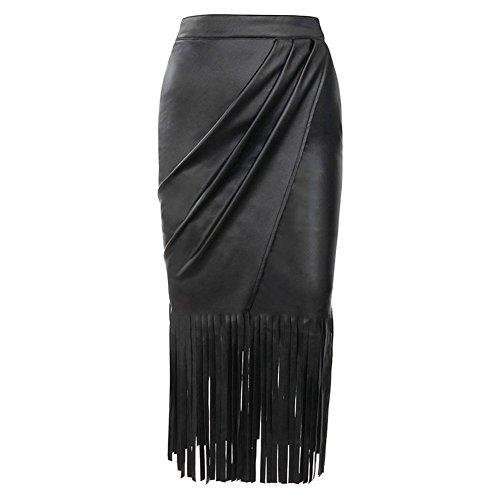 Elakaka Black High Waist Faux Leather Fringed Skirt(Size,S)