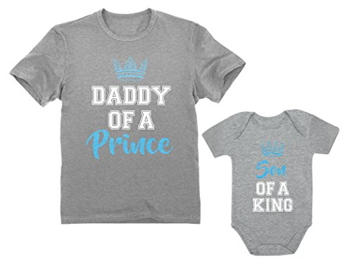 Daddy of a Prince & Son of a King Father & Baby Boy Matching Set Shirt Bodysuit Daddy Gray Large/Son Gray 18M (12-18M) ()