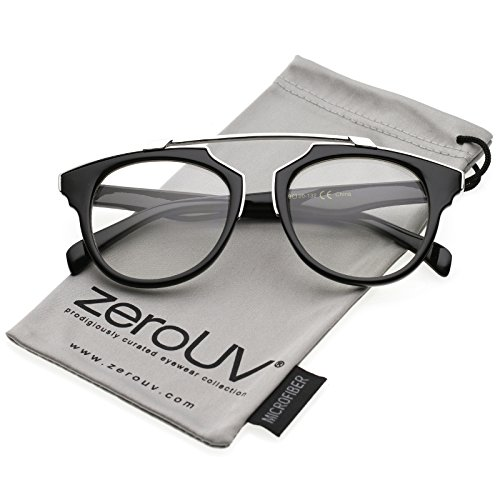 zeroUV - Modern Metal Brow Bar Horn Rimmed Round Clear Lens Aviator Eyeglasses 50mm (Black-Silver/Clear)