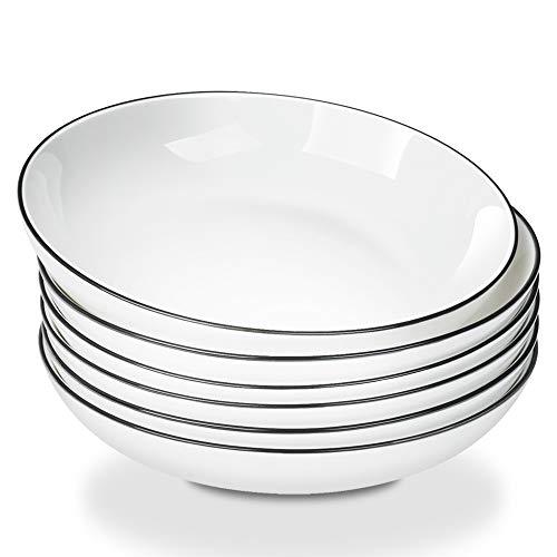 AnBnCn Porcelain Pasta/Salad Bowls - 25 Ounce - Set of 6, White ()