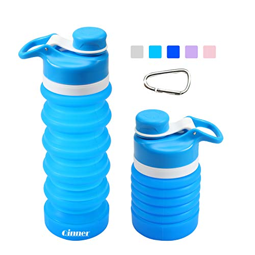 Qinner Collapsible Water Bottle Foldable Reusable Food-Grade Silicone FDA Approved, BPA Free, Leak Proof Portable Travel &SportsWater Bottle with Carabiner, 19oz (Sky Blue)]()