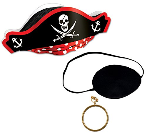 Pirate Costume Accessory Set - Black Eyepatch, Pirate Hat and Earring | Pirate Theme Costume Party (Childrens Pirate Costume Ideas)