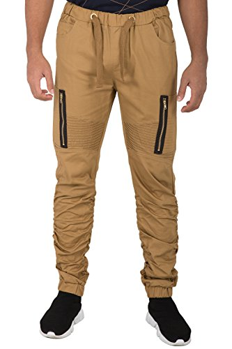 Scrunched Legs - Vibes Mens Moto Knee Twill Jogger Pants Scrunched Leg Vertical Zipper Cargo Pocket Size M Brown