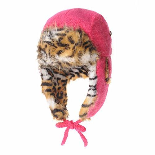WITHMOONS Wool Felt Knit Ear Flap Beanie Hat Leopard Faux Fur LX7523 (Pink)