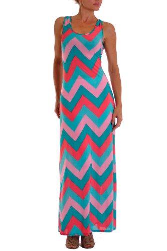 VIV Collection Chevron Floral Aztec Tribal Stripe Full Maxi Dress (Large, Chevron B Coral Mint Pink)