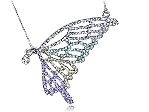 Alilang Multicolored Rainbow Butterfly Wing Swarovski Crystal Element Necklace