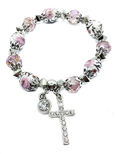 (Nazareth Store Religious Cross Bracelet Christian Classic beaded Bangle with Pink Crystal Beads Sacred Gift for Teen Girls Jewelry for Women & Men)