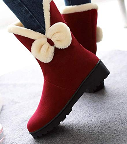 Shiney Snow Flat Artificial Winter And Plush Bow Boots Red Autumn Female Women's Suede Short Frosted 4qRC4Fw