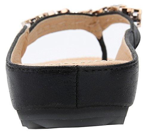 AgeeMi Pantofole Eul07 Donna Vetro Diamante con Basso Shoes Nero Tacco Sandali rwCaWqHrp