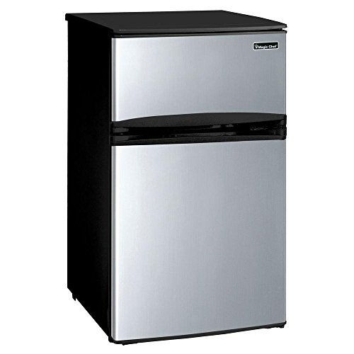 """Magic Chef 3.1 cu. ft. Mini Refrigerator in Stainless Look (Stainless Steel)"""