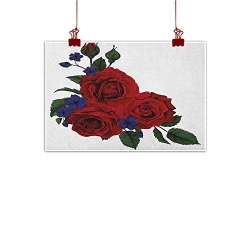 Sunset glow Canvas Prints Wall Art Rose,Blooming Red Roses with Gentle Wild Flowers Leaves Bouquet Corsage, Ruby Violet Blue Hunter Green 20