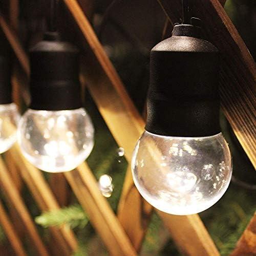 Safety 56ft Strand Waterproof Outdoor LED String Lights, 15 x Shatterproof Warm White Hanging Light Bulbs for Backyard Garden Patio Pergola Gazebo Bistro Bedroom Christmas Wedding Party