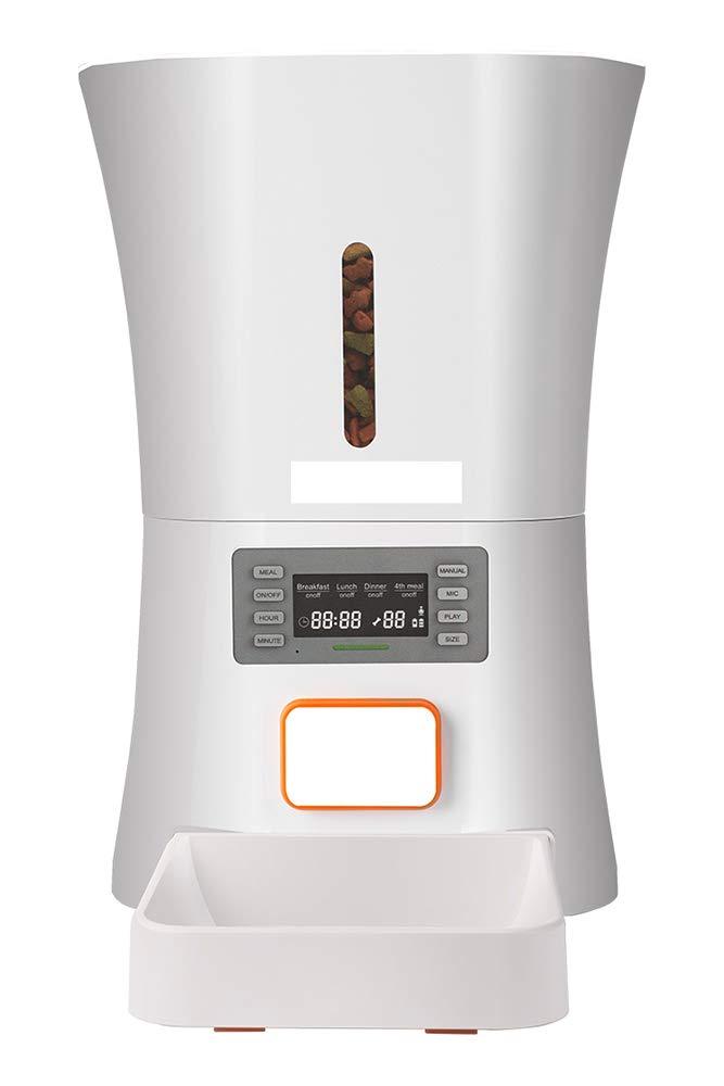 Qwer Pet Intelligent Feeder, Automatic Timing Quantitative Ultra-Quiet Cat Dog Food Dispenser 8L Large Capacity (22.534cm)
