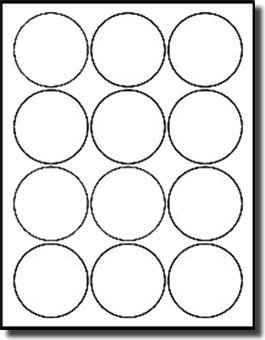 "1,200 Label Outfitters Round, White, 2-1/2"" Diameter Laser and Inkjet Labels, 100 Sheets"