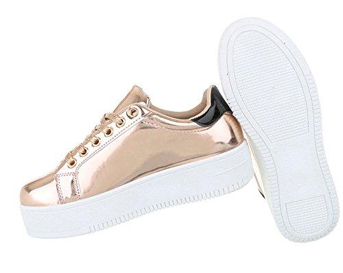 Partyschuhe Sohle Damen Glitzer Plateau Sneakers Schuhcity24 low Halbschuhe Freizeitschuhe Sportliche Rosa Sneaker Flach Metallic xq6paZ