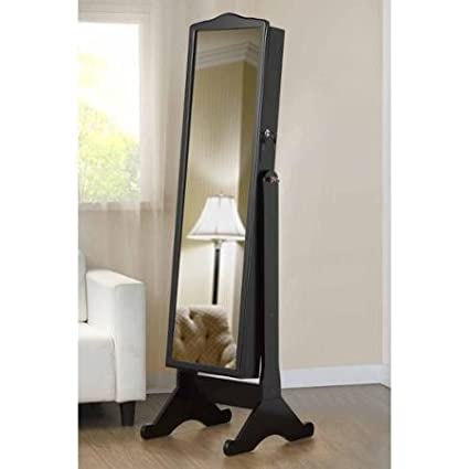 amazon com full length mirror with jewelry storage home kitchen rh amazon com Armoire with Shelves Shelf with Mirror for Bedroom