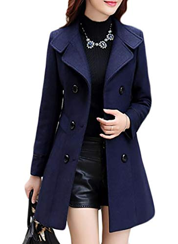 Joe Wenko Womens Double-Breasted Solid Wool-Blend Winter Slim Pea Coats Navy XS