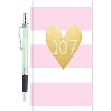 Slim Agenda 2017 semanal, piñas y rayas rosas, bolígrafo de ...