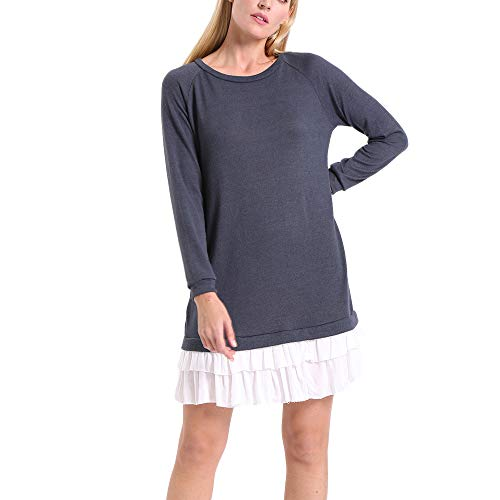 ENIDMIL Womens Round Neck Long Sleeve Dress Contrast Color Patchwork Casual Dress(Grey,XXL)