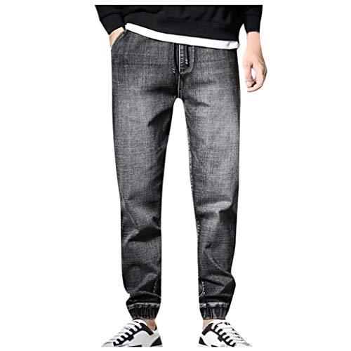 TANLANG ♥Men Plus Size Casual Denim Safari Style Trouser Loose Jeans Moto Biker Slim fit Skinny Pants with Multi Pockets