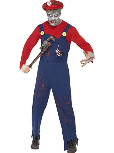 [Smiffys Zombie Plumber Costume includes Top/ Dungarees with Latex Ribcage and Hat (MEDIUM)] (Zombie Ribs Costume)