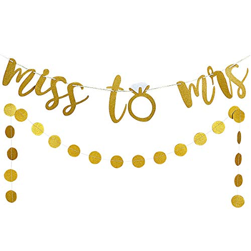 From Miss To Mrs Banner (Gold Glittery Miss to Mrs Banner and Gold Glittery Circle Dots Garland(25pcs Circle Dots) -Bachelorette Engagement Wedding Party Home Decor Decoration)